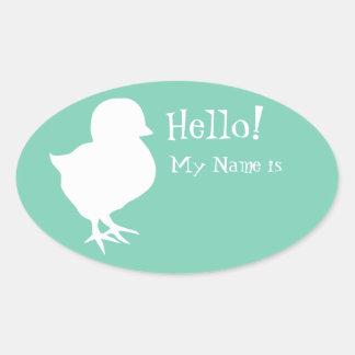 Adesivo Oval Nome de etiqueta bonito do pintinho