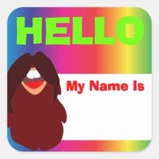 Adesivo Quadrado Nome de etiqueta do arco-íris da barba do Hippie