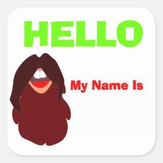 Adesivo Quadrado Nome de etiqueta do partido da barba do bigode