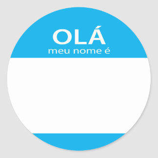 Nome de etiqueta do português de Meu Nome E do Ola Adesivo