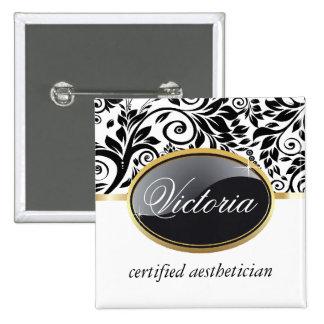 Nome de etiqueta elegante do salão de beleza bóton quadrado 5.08cm