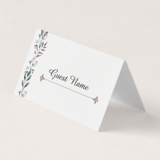 Nome de etiqueta floral elegante do convidado