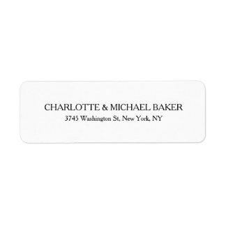 Nome de família moderno liso minimalista clássico etiqueta endereço de retorno