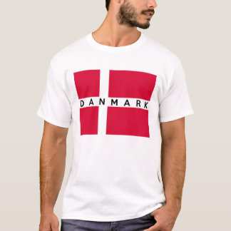 nome dinamarquês do texto do país da bandeira do camiseta