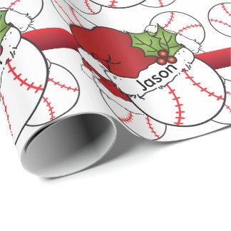 Nome do basebol   DIY do Natal do chapéu do papai Papel De Presente