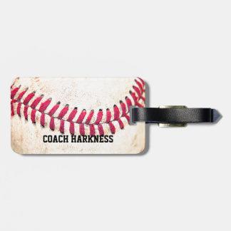Nome do costume do basebol do vintage etiqueta de bagagem