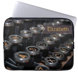 Nome do costume do escritor da máquina de escrever capa de notebook