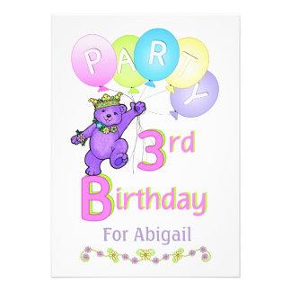 Nome do costume do partido de aniversário de 3 ano convite personalizado