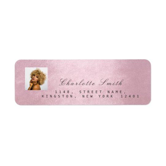 Nome do endereço do rosa RSVP do rosa da foto Etiqueta Endereço De Retorno