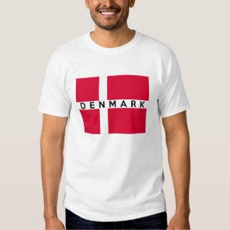 nome do texto da bandeira de país de Dinamarca Camisetas