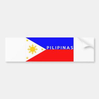 Nome do texto do país da bandeira dos pilipinas de adesivos