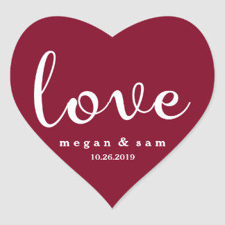 Nome e data vermelhos do amor adesivo coração