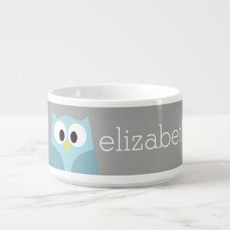 Nome feito sob encomenda azul e cinzento da coruja tigela para sopa