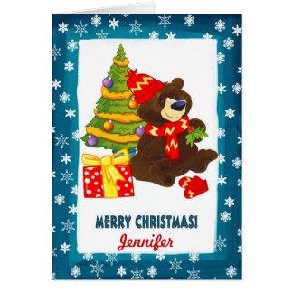 Nome feito sob encomenda. Cartão de Natal do urso