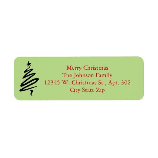 Nome feito sob encomenda verde vermelho da árvore etiqueta endereço de retorno