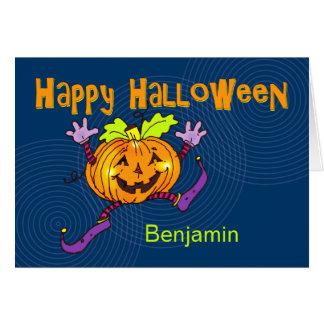 Nome feliz do costume do Dia das Bruxas da abóbora Cartão