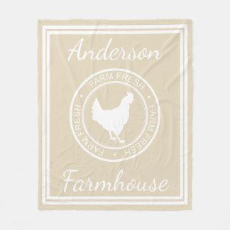 Nome fresco da galinha & de família da fazenda cobertor de velo