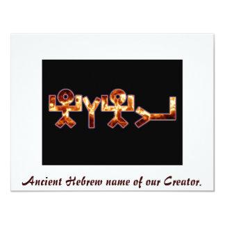 Nome hebreu antigo do יהוה convite 10.79 x 13.97cm