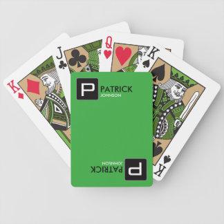 nome/inicial personalizados do monograma no verde baralhos para pôquer