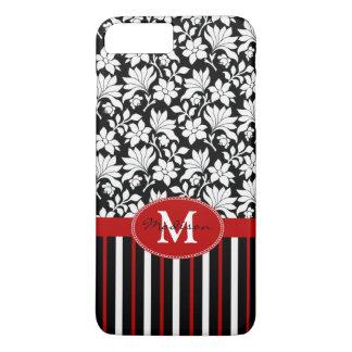 Nome/inicial vermelhos, brancos & pretos capa iPhone 7 plus