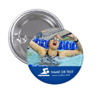 Nome nadador personalizado do nadador & da equipe bóton redondo 2.54cm