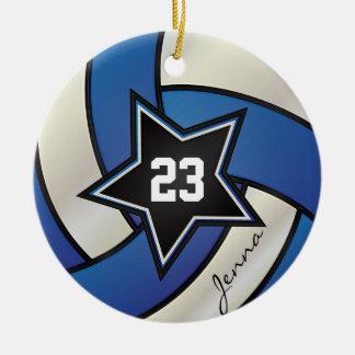 Nome & número azuis e brancos do voleibol   DIY da Ornamento De Cerâmica