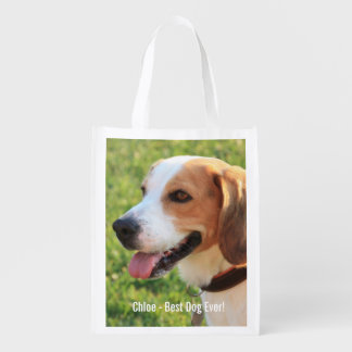 Nome personalizado da foto do cão do lebreiro e do sacolas ecológicas para supermercado
