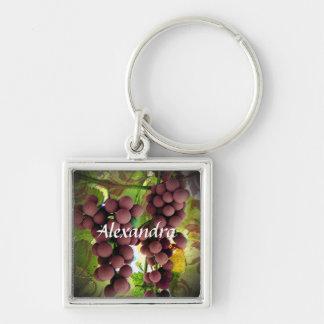 Nome personalizado das uvas vinhedo roxo e verde chaveiro quadrado na cor prata