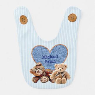 Nome personalizado do bebê no babador dos ursos de