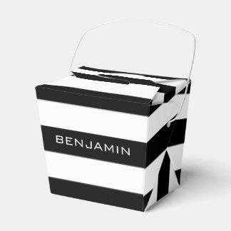 Nome preto e branco do costume do teste padrão caixinha de lembrancinhas