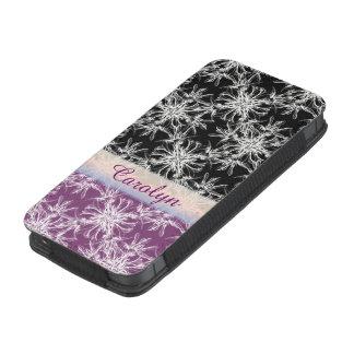 Nome preto e violeta do costume do damasco bolsinha para celular