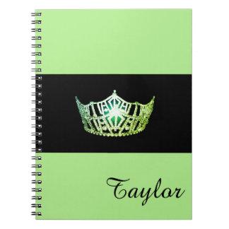 Nome verde do costume do caderno da coroa da