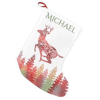 Nome vermelho da floresta da rena da folha meia de natal pequena