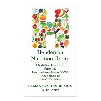 Nomeação do monograma H do nutricionista Cartao De Visita
