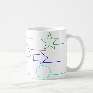 """""""Nomeie as formas, cor"""" na caneca de café da"""