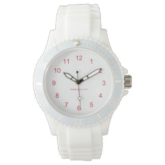 Nomeie o relógio branco desportivo do silicone das relógio