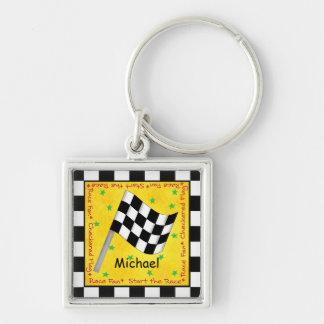 Nomeie Personalizd bandeira Checkered branca preta Chaveiro Quadrado Na Cor Prata