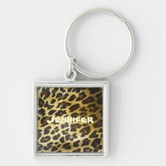 Nomeie sua pele do leopardo chaveiro