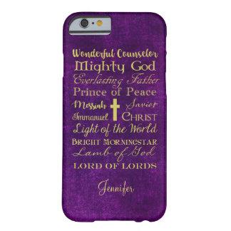 Nomes da capa de telefone do roxo de Jesus