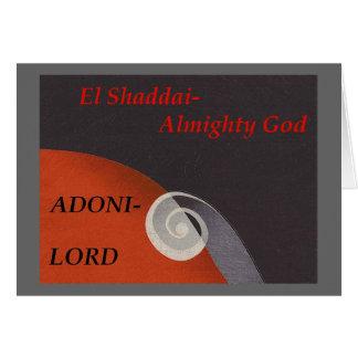 Nomes da coleção da escritura do deus cartão comemorativo