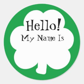 Adesivo Redondo Nomes de etiqueta da etiqueta do trevo