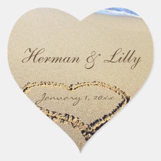 Nomes no casamento personalizado areia adesivo de coração