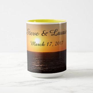 Nomes personalizados com data do casamento - caneca
