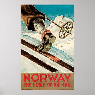Noruega a casa do poster vintage do esqui