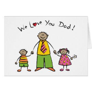 Nós amamo-lo dia dos pais feliz da família dos cartão comemorativo