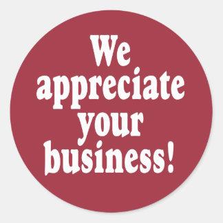 Nós apreciamos seu negócio adesivo
