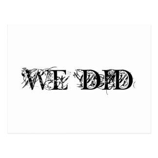 Nós fizemos o cartão do casamento