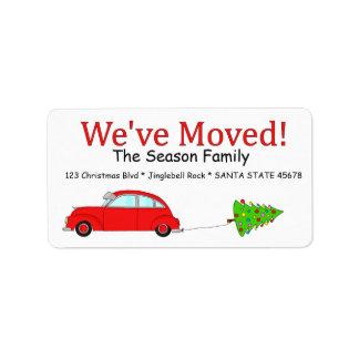 Nós movemos a etiqueta do carro e do Natal da