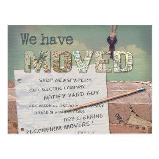 """""""Nós movemos"""" a mudança do cartão de endereço Cartão Postal"""