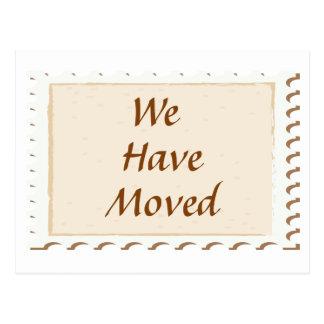 Nós movemos o cartão do porte postal